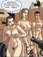 In this adult comic, a naughty slut is taken as a prisoner to tell where her father is living for the last two years. Well, in the back of the army ve